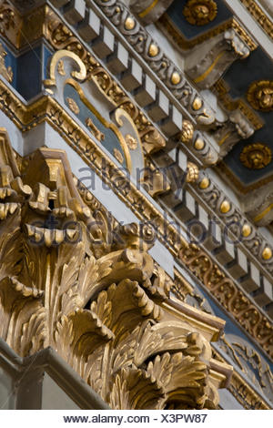 Inner hall of the Sainte-Réparate Cathedral, stucco, Nice, Cote d'Azur, France - Stock Photo