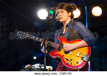 The British folk singer Charlene Soraia playing live outside the KKL Plaza at the Blue Balls Festival, Lucerne, Switzerland - Stock Photo