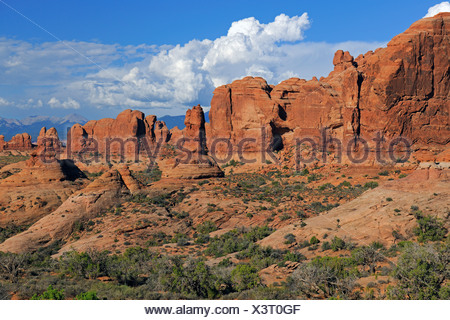Garden of Eden at sunrise, Arches National Park, Utah, Southwest, USA - Stock Photo