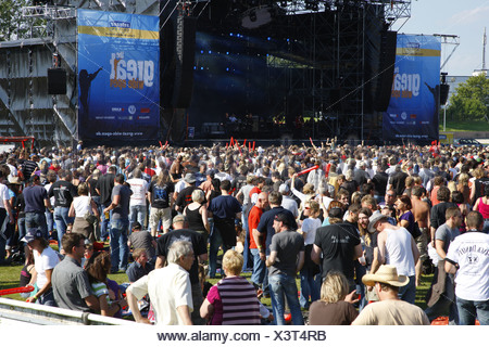 Audience at the Open Air Festival, Muehldorf am Inn, Bavaria, Germany - Stock Photo