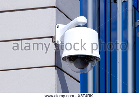 Surveillance camera at the corporate headquarters of the Fresenius SE company in Bad Homburg von der Hoehe, Hesse, Germany, Eur - Stock Photo