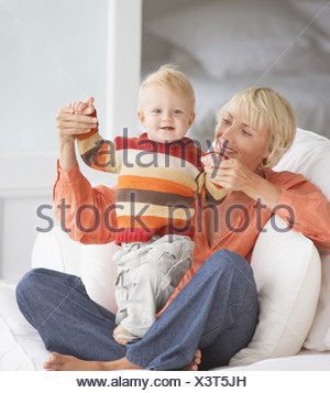 Woman with baby boy - Stock Photo