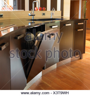Built-In Dishwasher In Custom Contemporary Kitchen; Victoria, Vancouver Island, British Columbia, Canada - Stock Photo