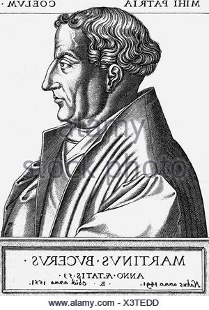 Bucer, Martin, 11.11.1491 - 27.2.1551, German reformer and humanist, portrait, side view, copper engraving, 1553, with added dates, , Artist's Copyright has not to be cleared - Stock Photo