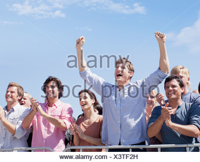 Cheering crowd - Stock Photo