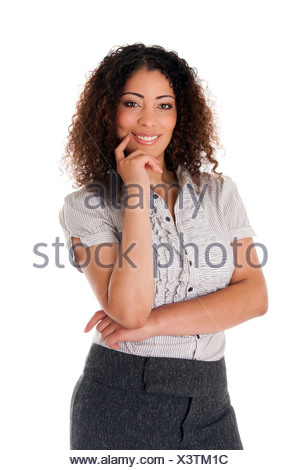 Happy smiling formal corporate business woman with curly hair full confidence standing, isolated. - Stock Photo