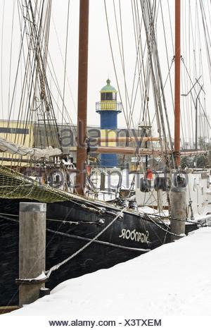 Eckernfoerde harbor in winter - Stock Photo