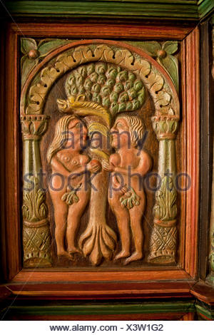 Adam and Eve on a wooden relief in the Seamen's Church in Arnis, district of Schleswig-Flensburg, Schleswig-Holstein - Stock Photo