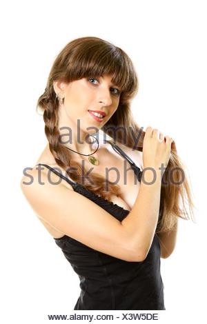smiling young beautiful woman - Stock Photo