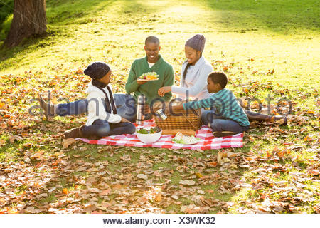 Happy family picnicking in the park together - Stock Photo
