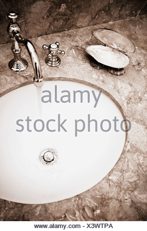 Close-up of a bathroom sink - Stock Photo