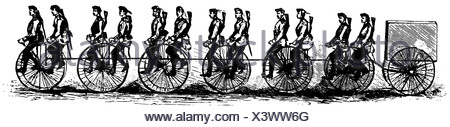 Cyclists in the British army, 1888 - Stock Photo
