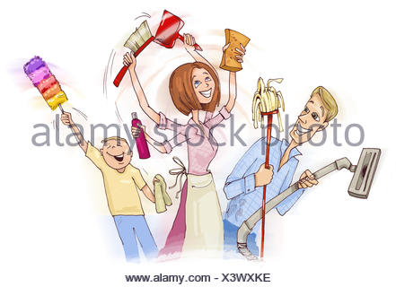 Family doing spring cleaning - Stock Photo