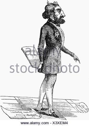 Dingelstedt, Franz Freiherr von, 30.6.1814 - 15.5.1881, German author / writer, theatre manager, full length, caricature, , - Stock Photo