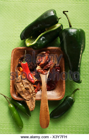 Various dried and fresh chili peppers FoodCollection - Stock Photo