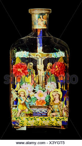 fine arts, folk art, impossible bottle with crucifixion, glass, paper, Black Forest, 19th century, private collection, Switzerland, Artist's Copyright has not to be cleared - Stock Photo