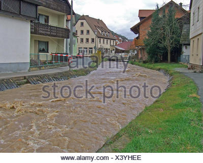 waters stream thunder-storm flood catastrophe natural disaster water nature - Stock Photo