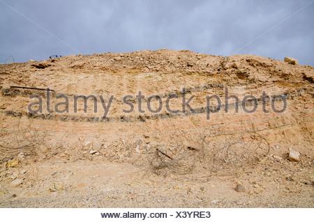 Israel, Arava, Sediment layers on the Graet Rift Valley - Stock Photo