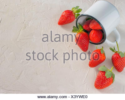 strawberries in wooden bowl - Stock Photo
