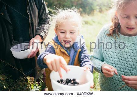 Two girls holding blackberries in bowl - Stock Photo