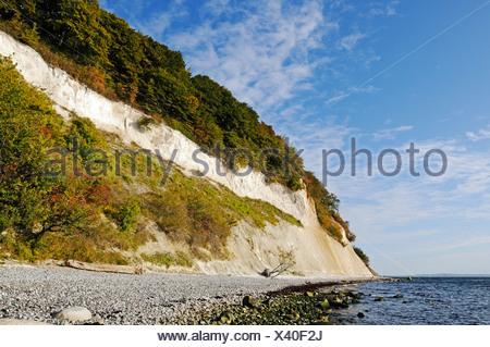 Beach and chalk stratum in the chalk cliffs in the Jasmund National Park, Jasmund peninsula, Ruegen Island - Stock Photo