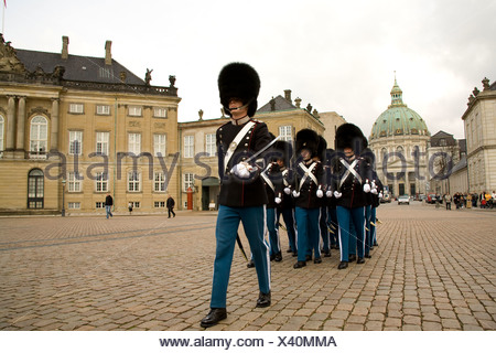 The changing of the Royal Guard ceremony in front of the palace. - Stock Photo