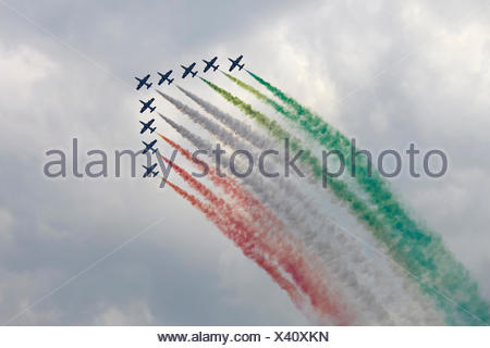 Frecce Tricolori, aerobatic demonstration team, airshow Airpower 2013, Zeltweg, Styria, Austria - Stock Photo