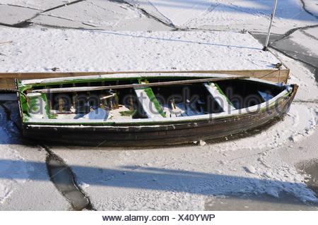 Boat in the port of Hamburg in the winter, Hamburg, Germany, Europe - Stock Photo