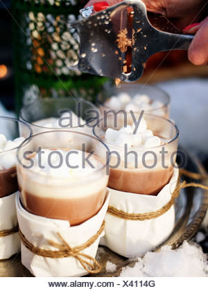 Glasses of hot chocolate, close-up - Stock Photo