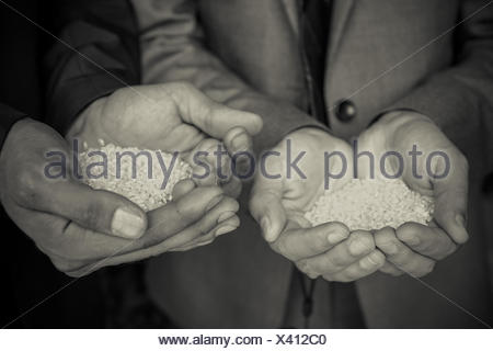 Cropped Hands Holding Rice - Stock Photo