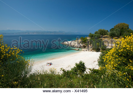 Beach of Kassiopi, Corfu, Ionian Islands, Greece, Europe - Stock Photo