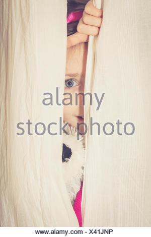 Little girl hiding behind curtain with her teddy bear - Stock Photo