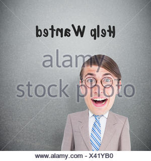 Composite image of geeky businessman - Stock Photo