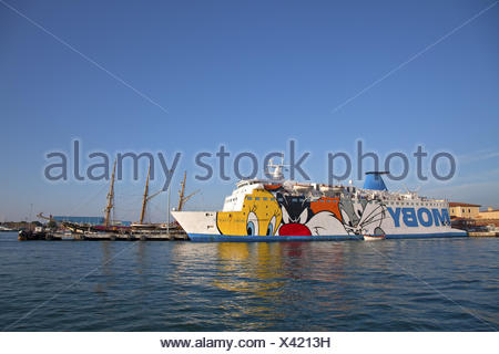 Ferry Moby Lines to Sardinia in the ferry harbour of Livorno, Tuscany, Italy, Southern Europe, - Stock Photo
