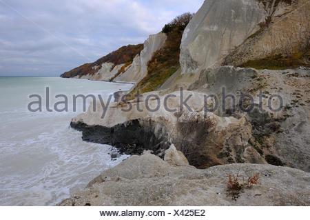 Autumn mood, chalk cliffs and the Baltic Sea, Moensklint, Moen Island, Denmark, Scandinavia, Europe - Stock Photo