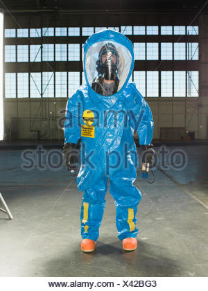 A National Guardsman wears a Nuclear radiation suit during training at an air base in South Dakota. - Stock Photo