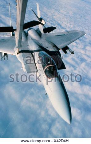KC-10A Extender refueling an F-15 Eagle - Stock Photo