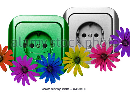 Illustration, sockets and flowers - Stock Photo