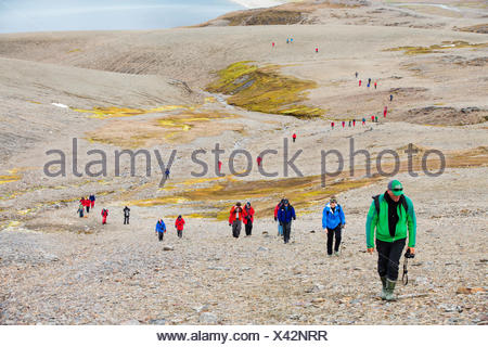 Passengers on an expedition cruise to Anarctica recreat part of Shakleton's famous walk across South Georgia. The group are walking from Fortuna Bay to Stromness. - Stock Photo