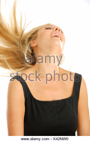 blond woman shaking her head - Stock Photo