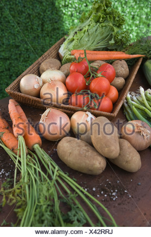 Fresh vegetables on table outdoors - Stock Photo