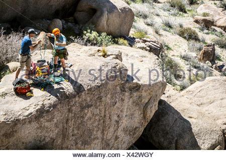 Two rock climbers sort gear at the base of a climb, Joshua Tree National Park, California. - Stock Photo