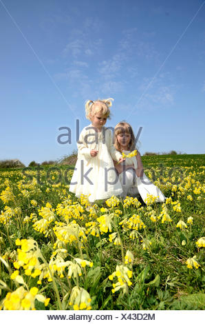 Two girls, 7 and 2 years, wearing summer dresses, in a field of cowslip, Sweden - Stock Photo