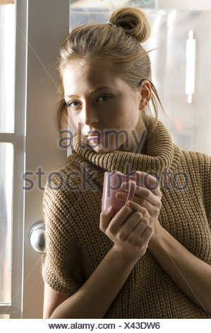 woman with teamug - Stock Photo