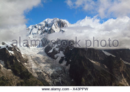 Glacier of the Brenva, Mont Blanc, Aosta Valley, Italy - Stock Photo