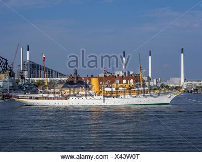 The Danish Royal Yacht Dannebrog, Copenhagen Harbour, Copenhagen, Denmark, Europe - Stock Photo