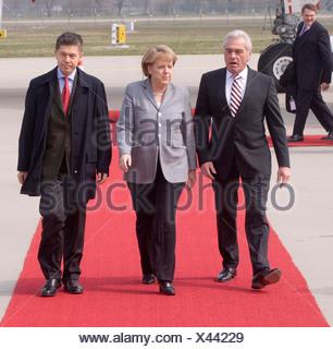 Heribert Rech, interior minister of Baden-Wuerttemberg, Federal Chancellor Dr. Angela Merkel and Prof. Joachim Sauer, 60 years