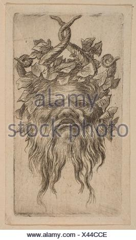 Mask. Artist: Attributed to Stefano della Bella (Italian, Florence 1610-1664 Florence); Medium: Etching; Classification: Prints; Credit Line: Gift of - Stock Photo