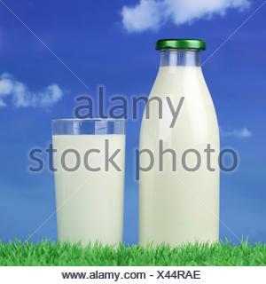 Milch in der Flasche und im Glas auf einer gr├╝nen Wiese - Stock Photo