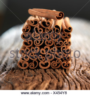 Stacked Chinese cinnamon sticks - Stock Photo